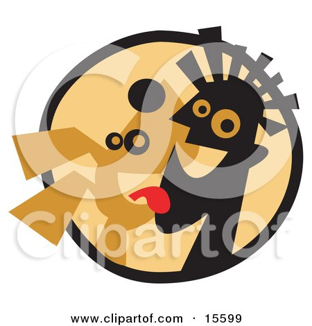 Happy Dog Licking A Man's Face Clipart Illustration by Andy Nortnik