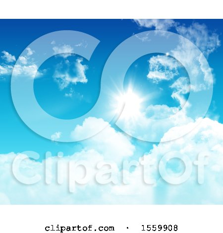 Clipart of a 3d Blue Sky and Clouds - Royalty Free Illustration by KJ Pargeter