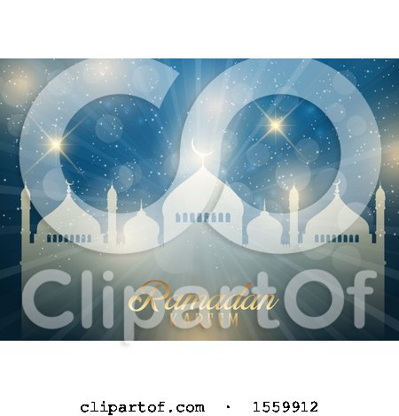 Clipart of a Ramadan Kareem Background with a Mosque - Royalty Free Vector Illustration by KJ Pargeter