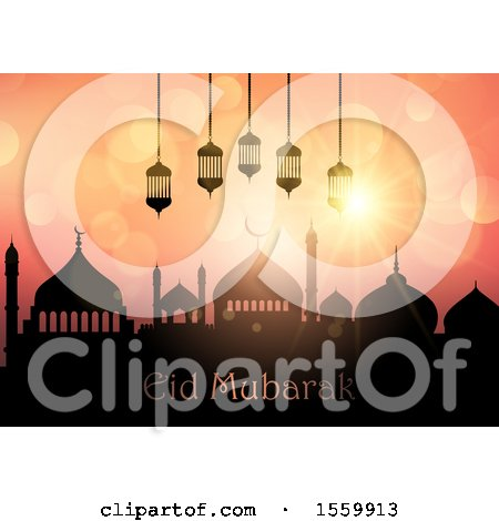Clipart of an Eid Mubarak Background with a Mosque and Lanterns - Royalty Free Vector Illustration by KJ Pargeter