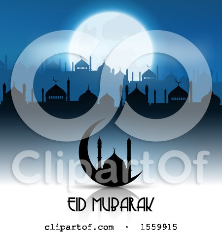 Clipart of an Eid Mubarak Background with a Crescent Moon and Mosque - Royalty Free Vector Illustration by KJ Pargeter