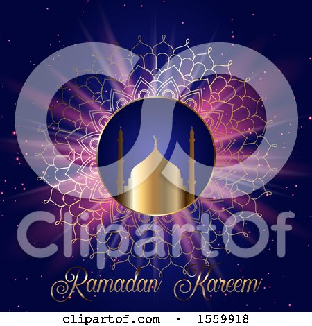 Clipart of a Ramadan Kareem Background with a Mosque and Mandala - Royalty Free Vector Illustration by KJ Pargeter