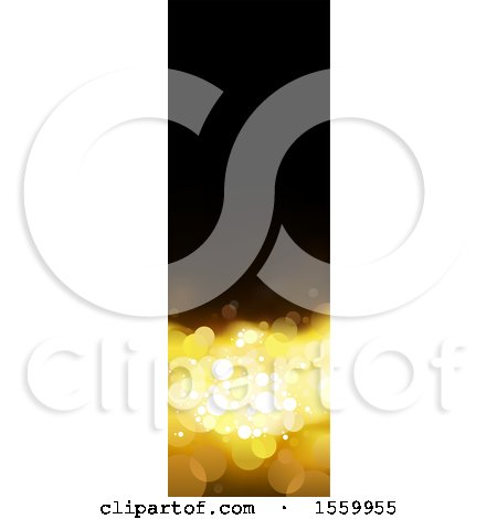 Clipart of a Black and Gold Bokeh Flare Vertical Banner - Royalty Free Vector Illustration by dero