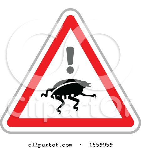Clipart of a Bug Warning on an Internet Attack Triangle - Royalty Free Vector Illustration by dero