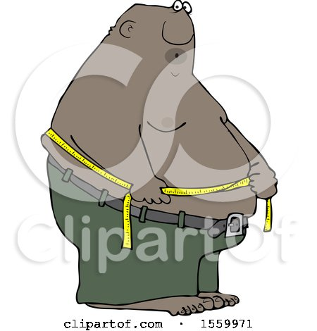 Clipart of a Cartoon Black Man Measuring His Belly Fat - Royalty Free Vector Illustration by djart