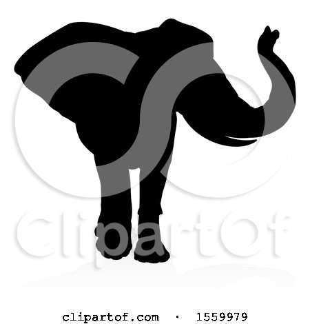 Clipart of a Silhouetted Elephant, with a Reflection on a White Background - Royalty Free Vector Illustration by AtStockIllustration