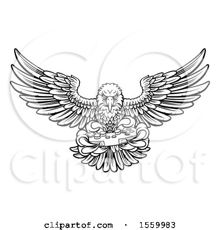 Clipart of a Black and White Cartoon Swooping American Bald Eagle with a Video Game Controller in Its Claws - Royalty Free Vector Illustration by AtStockIllustration