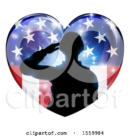 Clipart of a Silhouetted Military Veteran or Soldier Saluting in an American Themed Flag Heart - Royalty Free Vector Illustration by AtStockIllustration