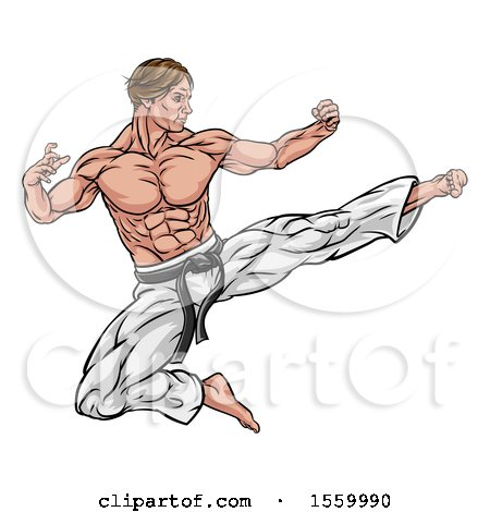 Clipart of a Muscular Kung Fu Martial Artist Kicking - Royalty Free Vector Illustration by AtStockIllustration