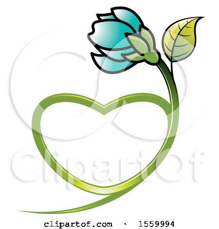Clipart of a Turquoise Flower with a Heart Shaped Stem - Royalty Free Vector Illustration by Lal Perera