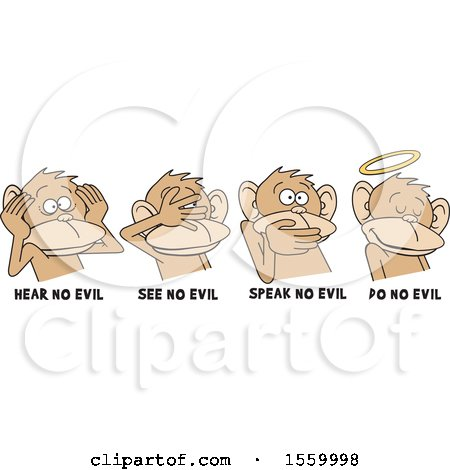 Clipart of Hear No Evil See No Evil Speak No Evil and Do No Evil Monkeys with Text - Royalty Free Vector Illustration by Johnny Sajem