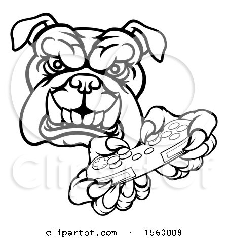 Clipart Of A Black And White Tough Bulldog Mascot Holding A Video