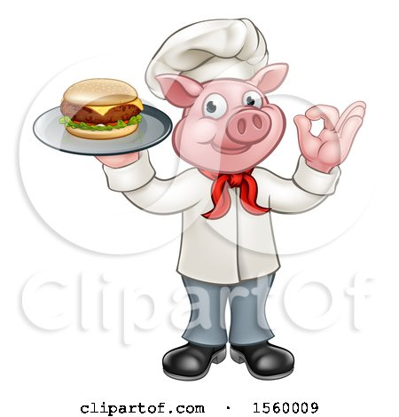 Clipart of a Full Length Chef Pig Holding a Cheeseburger on a Tray and Gesturing Okay - Royalty Free Vector Illustration by AtStockIllustration