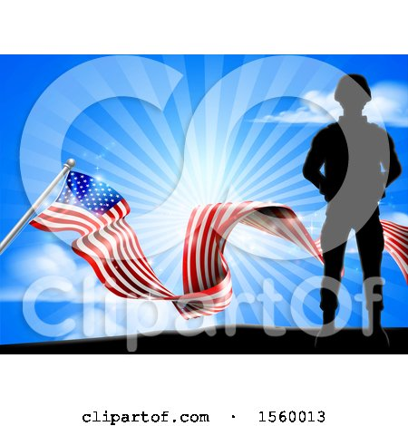 Clipart of a Silhouetted Full Length Military Soldier over an American Flag and Sky - Royalty Free Vector Illustration by AtStockIllustration