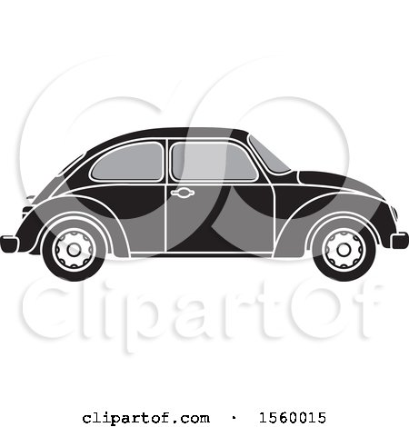 Clipart of a Grayscale Classic Slug Bug Vw Volkswagen Car - Royalty Free Vector Illustration by Lal Perera