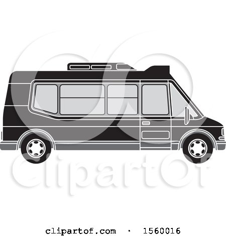 Clipart of a Grayscale Passenger Van - Royalty Free Vector Illustration by Lal Perera