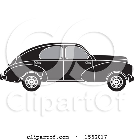 Clipart of a Grayscale Vintage Peugeot Car - Royalty Free Vector Illustration by Lal Perera