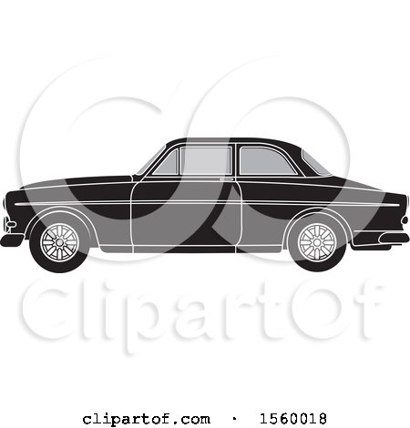Clipart of a Grayscale Classic Volvo Car - Royalty Free Vector Illustration by Lal Perera