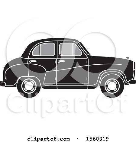 Clipart of a Grayscale Vintage Car - Royalty Free Vector Illustration by Lal Perera