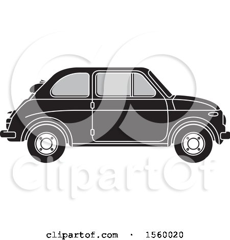 Clipart of a Grayscale Vintage Fiat Car - Royalty Free Vector Illustration by Lal Perera