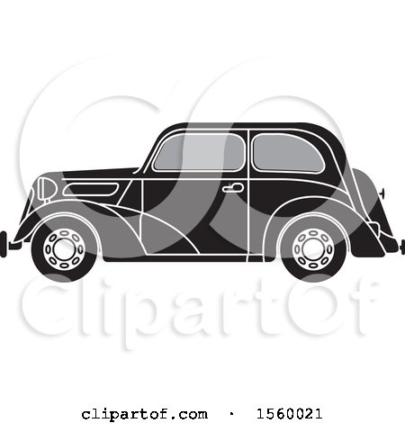 Clipart of a Grayscale Vintage Ford Car - Royalty Free Vector Illustration by Lal Perera