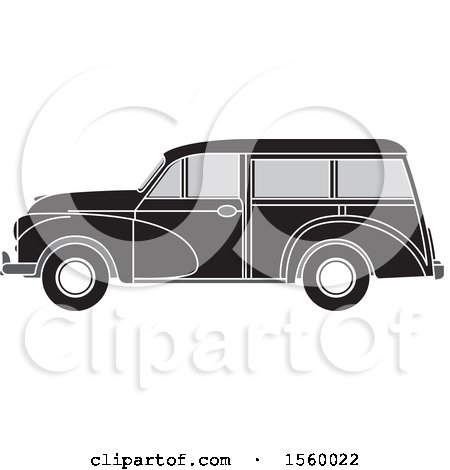 Clipart of a Grayscale Vintage Wagon Car - Royalty Free Vector Illustration by Lal Perera