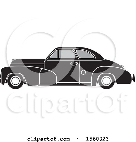 Clipart of a Grayscale Vintage Chevrolet Car - Royalty Free Vector Illustration by Lal Perera