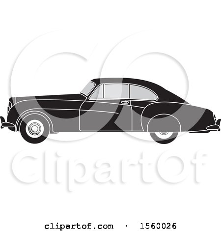 Clipart of a Grayscale Vinage Car - Royalty Free Vector Illustration by Lal Perera