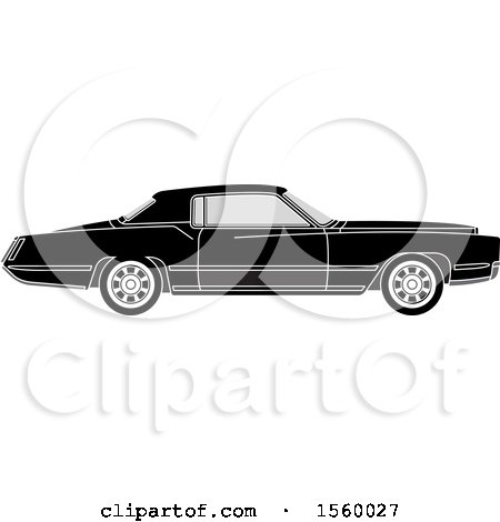 Clipart of a Grayscale Classic Car - Royalty Free Vector Illustration by Lal Perera