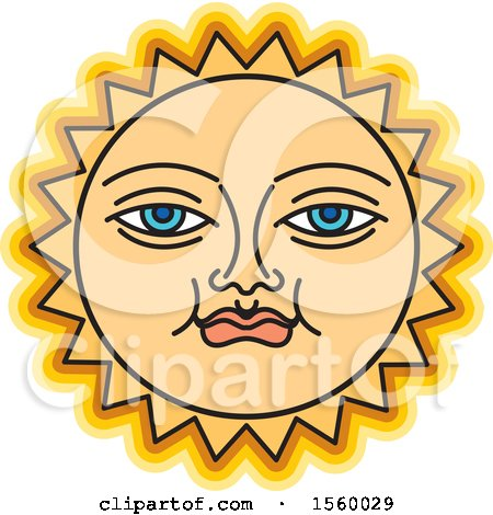 Clipart of a Happy Yellow Sun Face - Royalty Free Vector Illustration by Lal Perera