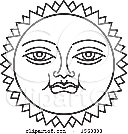Clipart of a Black and White Happy Sun Face - Royalty Free Vector Illustration by Lal Perera