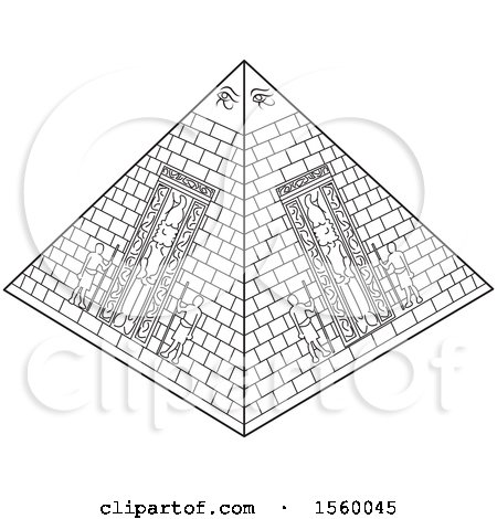 Clipart of a Black and White Ancient Egyptian Pyramid - Royalty Free Vector Illustration by Lal Perera