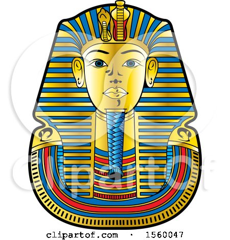 Clipart of an Egyptian King Death Mask for Tutankhamun - Royalty Free Vector Illustration by Lal Perera