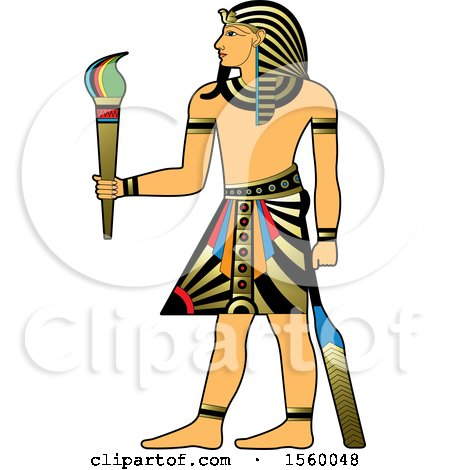 Clipart of an Egyptian King Holding a Torch - Royalty Free Vector Illustration by Lal Perera