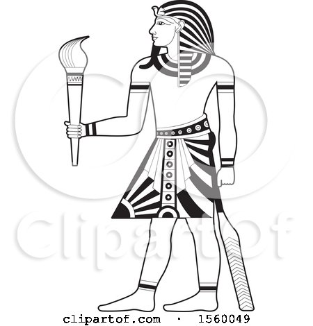 Clipart of a Black and White Egyptian King Holding a Torch - Royalty Free Vector Illustration by Lal Perera