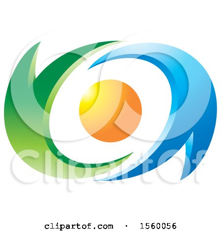 Clipart of a Sun with Green and Blue Swooshes - Royalty Free Vector Illustration by Lal Perera