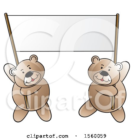 Clipart of Bears Holding up a Blank Banner - Royalty Free Vector Illustration by Lal Perera