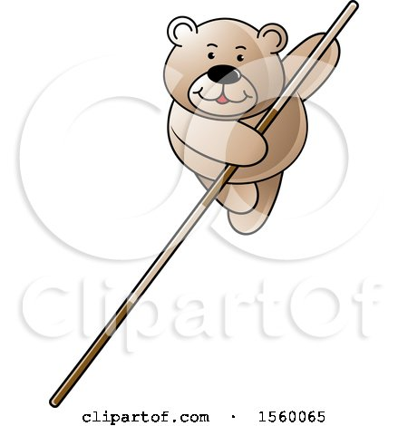 Clipart of a Bear Pole Vaulting - Royalty Free Vector Illustration by Lal Perera
