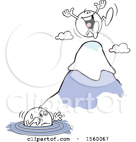 Clipart of a Moodie Character up to His Elbows in Water and Another Happy at the Top of a Mountain - Royalty Free Vector Illustration by Johnny Sajem