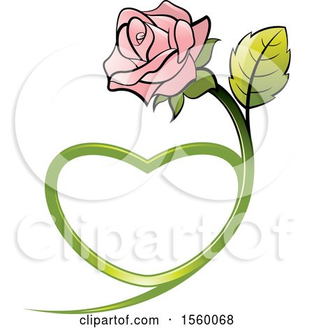 Clipart of a Pink Rose Flower with a Heart Shaped Stem - Royalty Free Vector Illustration by Lal Perera
