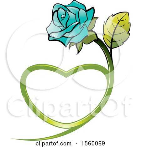 Clipart of a Turquoise Rose Flower with a Heart Shaped Stem - Royalty Free Vector Illustration by Lal Perera