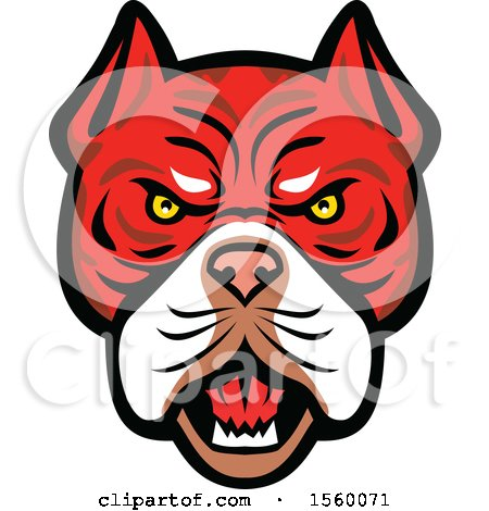 Clipart of a Retro Angry Tiger Bulldog Dog Mascot - Royalty Free Vector Illustration by patrimonio