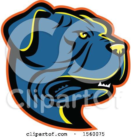 Clipart of a Retro Leavitt Bulldog Dog Mascot - Royalty Free Vector Illustration by patrimonio