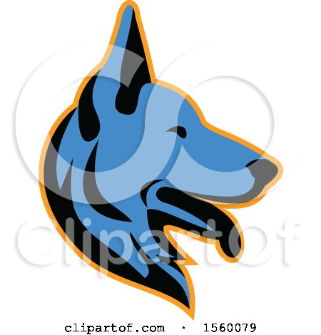 Clipart of a Retro Blue Alsatian German Shepherd Dog Mascot in Profile - Royalty Free Vector Illustration by patrimonio