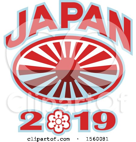 Clipart of a Rugby Ball with a Japanese Flag Rising Sun and Japan 2019 Text - Royalty Free Vector Illustration by patrimonio