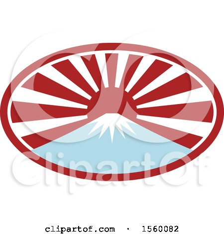 Clipart of a Retro Mount Fuji with Snow and a Japanese Sunrise Oval - Royalty Free Vector Illustration by patrimonio