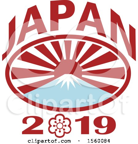Clipart of a Rugby Ball Oval with Mount Fuji, Japanese Rising Sun and 2019 Text - Royalty Free Vector Illustration by patrimonio