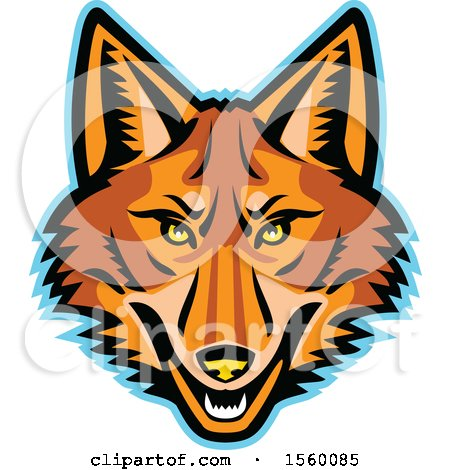 Clipart of a Retro Coyote Mascot - Royalty Free Vector Illustration by patrimonio