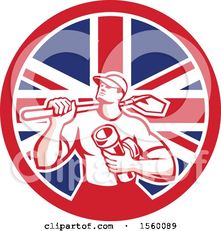 Clipart of a Retro Drainlayer Man Carrying a Shovel and Pipe in a Union Jack Flag Circle - Royalty Free Vector Illustration by patrimonio
