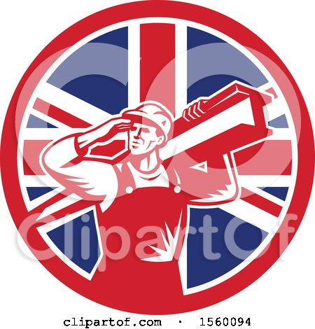 Clipart of a Retro Male Construction Worker Shielding His Eyes and Carrying a Beam in a Union Jack Flag Circle - Royalty Free Vector Illustration by patrimonio